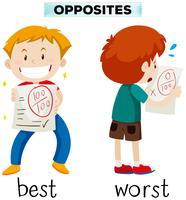 Palabras opuestas para mejor y peor.