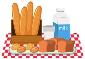 Pão e leite conjunto