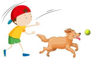 Ein Junge, der Hund trainiert