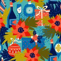 Vektornahtloses Muster mit Weihnachtssymbolen. Trendy Vintage-Stil.