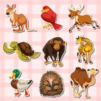 Diseño de pegatinas con diferentes tipos de animales.