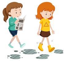 Meninas andando com passos descuidados e cuidadosos