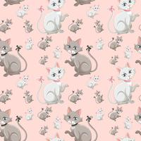 Cute kitten seamless pattern