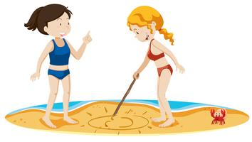 Meisjes tekenen zon op het zand
