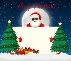 Merry chirstmas santa with sunglasses vector