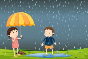Two children in the rain