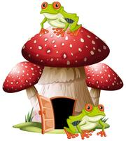 Mushroom house with frogs