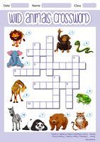 Wild animals crossword template