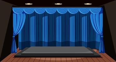 Een leeg podium met blauw gordijn