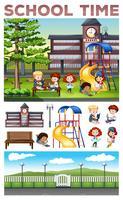 Crianças fazendo atividades na escola