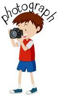 Flashcard para fotografia de palavra com menino tirando foto