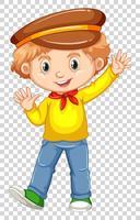 Garotinho na camisa amarela, acenando a mão