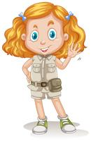 S Cute Girl Scout on White Background
