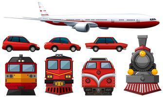 different types of vehicles in red color