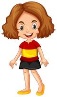 Tragendes Hemd des Mädchens mit Spanien-Flagge