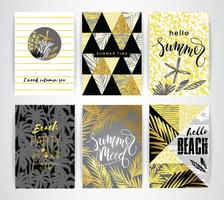Set of summer cards with hand-drawing elements.