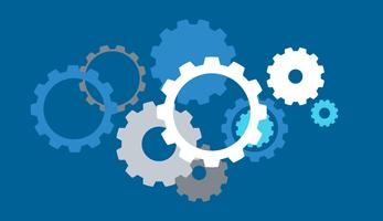 Gears on blue background vector