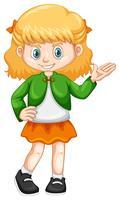 Liten tjej i grön jacka