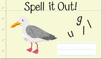 Soletrar palavra em inglês gaivota