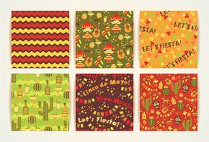 Set of vector seamless patterns with traditional Mexican symbols