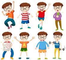 Boy with glasses in different actions