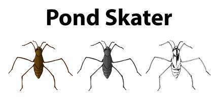 Doodle karakter voor vijverschaatser