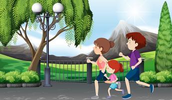Familj på en springer parkplats