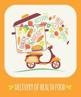 Vector illustration of Delivery of a healthy food.