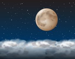 Une lune au dessus du nuage