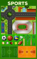 Different kind of sport equipments and courts
