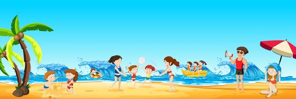 Scene of people at the beach vector