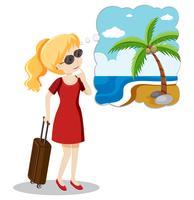 Une fille blonde part en vacances d'été