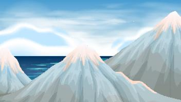 Background scene with ice on mountains