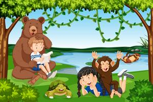Children with wild animals scene