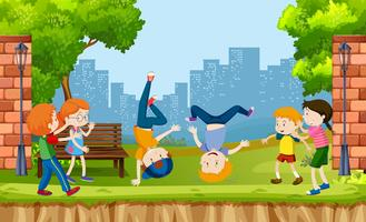 Urban kids show street dance at the park