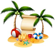 Banner template with beach items