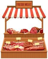 Etal de viande fraîche isolé