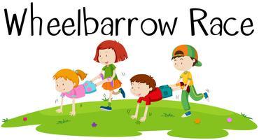 Kinder spielen Schubkarrenrennen