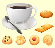 Taza de cafe y galletas vector