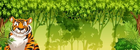 Tiger in the jungle background vector