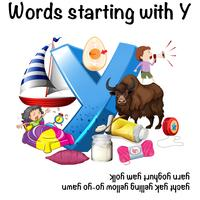 Words starting with Y on white background