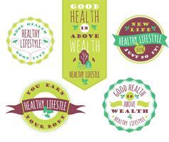 Set van gezonde levensstijl etiketten en tekens met Retro typografie.