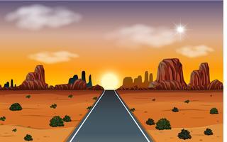 Lever du soleil dans le désert avec scène de route