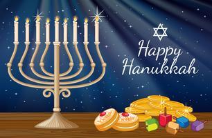 Modelo de cartão de feliz Hanukkah com velas e decorações