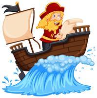 Pirata explorando o oceano
