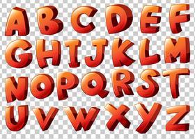 Arte-final do alfabeto na cor laranja