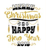 Christmas and New Year lettering designs. Vector elements