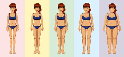 Transformación del cuerpo de una mujer vector