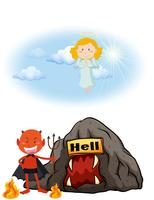 Engel in de hemel en duivel in de hel