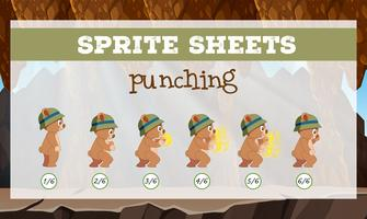 A sprite sheet punching game template